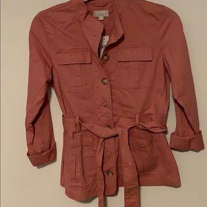 Pink twill military jacket
